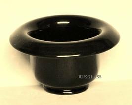 Vase Insert Relish Center Bowl Black Glass Rolled Rim  Pansy Violets - $19.99