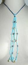 VTG Light Blue Silver Tone Flower Shell Beaded Dangle Necklace - $19.80