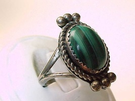Vintage Genuine MALACHITE RING in Sterling Silver - Size 8 1/4 - $52.00