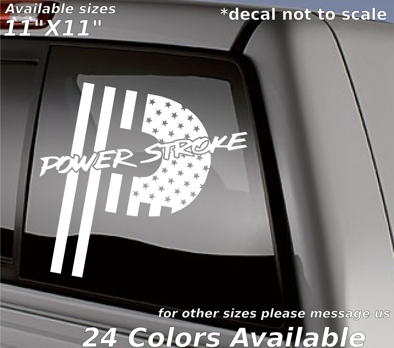 F250 F350 4x4 Vinyl Powerstroke Flag Sticker American Flag Powerstroke Decal