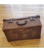 "Antique large leather travel luggage suitcase trunk . Size 22x14x9"".  - $200.00"