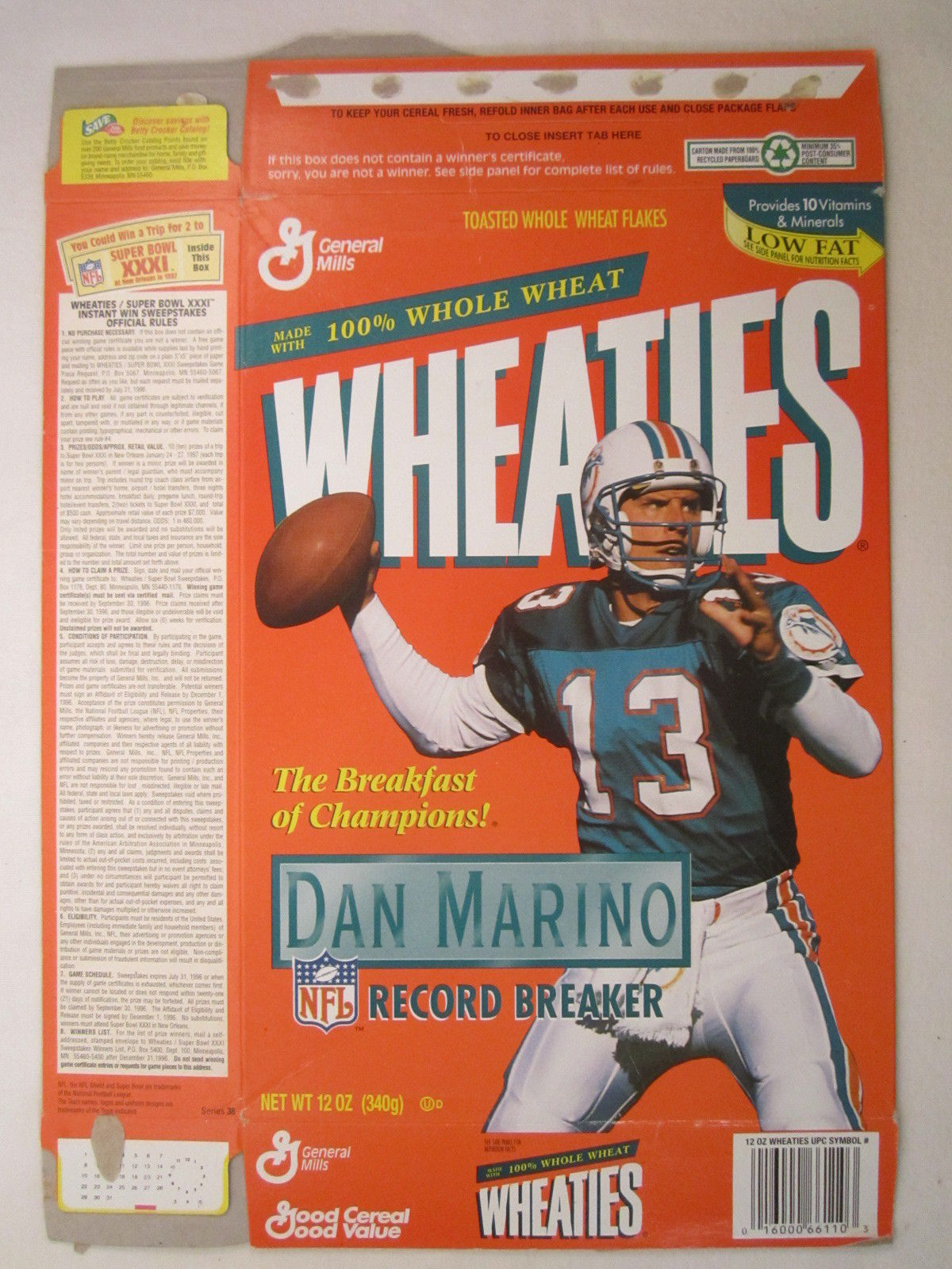 Primary image for Empty WHEATIES Box 1995 12oz DAN MARINO Record Breaker [Z202b1]