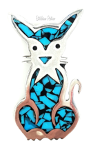 Turquoise and 925 Sterling Silver Cat Brooch Marked Mexico TM-183 - $44.00