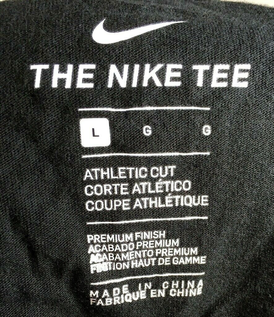 Nike Mens Black Cotton Graphic T-Shirt – Large Athletic Cut image 3