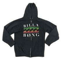 BILLABONG Full Zip Sweater Jacket Black Long Sleeve Hoodie Size Medium M... - $28.28