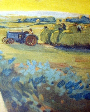 c1919 Pastel Chromolithograph-Smiling Farmer Lady,Tractor,Ha