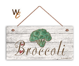 "Broccoli Sign, Rustic Style Garden Sign,  5"" x 10"" Wood Vegetable Sign, ... - $11.39"