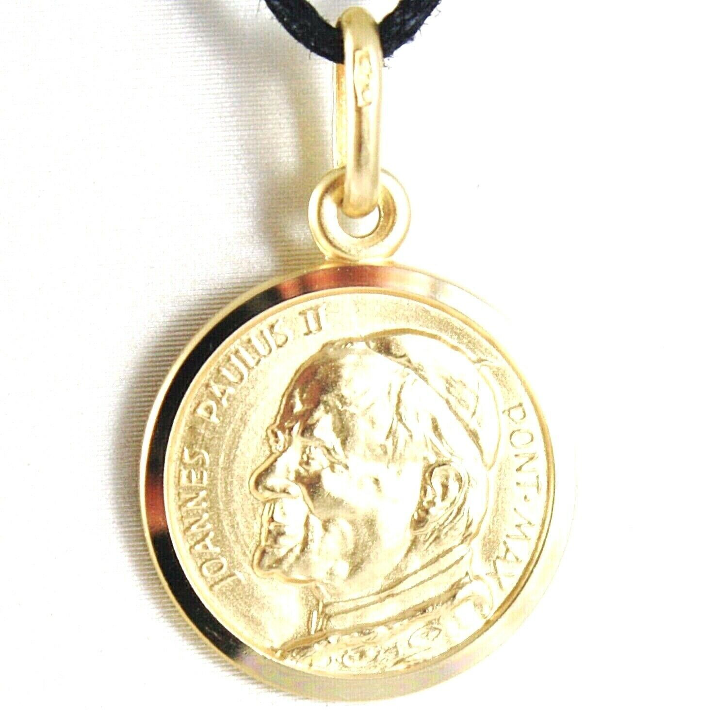 SOLID 18K YELLOW GOLD SAINT POPE JOHN PAUL II, DIAMET. 13 MM MEDAL MADE IN ITALY