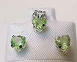 10K WHITE GOLD Genuine PERIDOT Stud EARRINGS and PENDANT Set - FREE SHIPPING