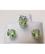 10K WHITE GOLD Genuine PERIDOT Stud EARRINGS and PENDANT Set - FREE SHIP... - £40.12 GBP