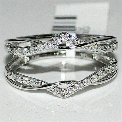 Primary image for 1.10 Ct Diamond Enhancer Wrap Guard Wedding Engagement Ring 14K White Gold Over