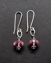 Sterling Silver Pink Amethyst Earrings - £11.98 GBP