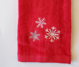 HOLIDAY FINGERTIP TOWEL Embroidered Red Christmas Silver Snowflakes, Hand Towels