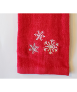 HOLIDAY FINGERTIP TOWEL Embroidered Red Christmas Silver Snowflakes, Han... - £5.78 GBP