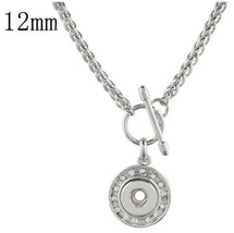 Silver Rhinestone Toggle Clasp 12mm Mini Snap Charm Necklace For Ginger ... - $19.75