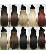 Clip in Hair Extension Black Brown Natural Look Straight Long Synthetic - $6.37+