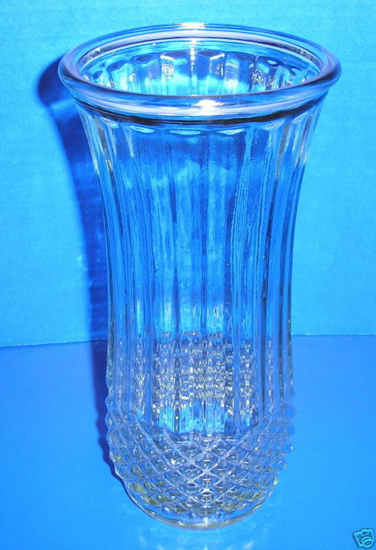 Vintage Diamond Point Ribbed Flared Clear Hoosier Glass Flower Vase 4089A 65A