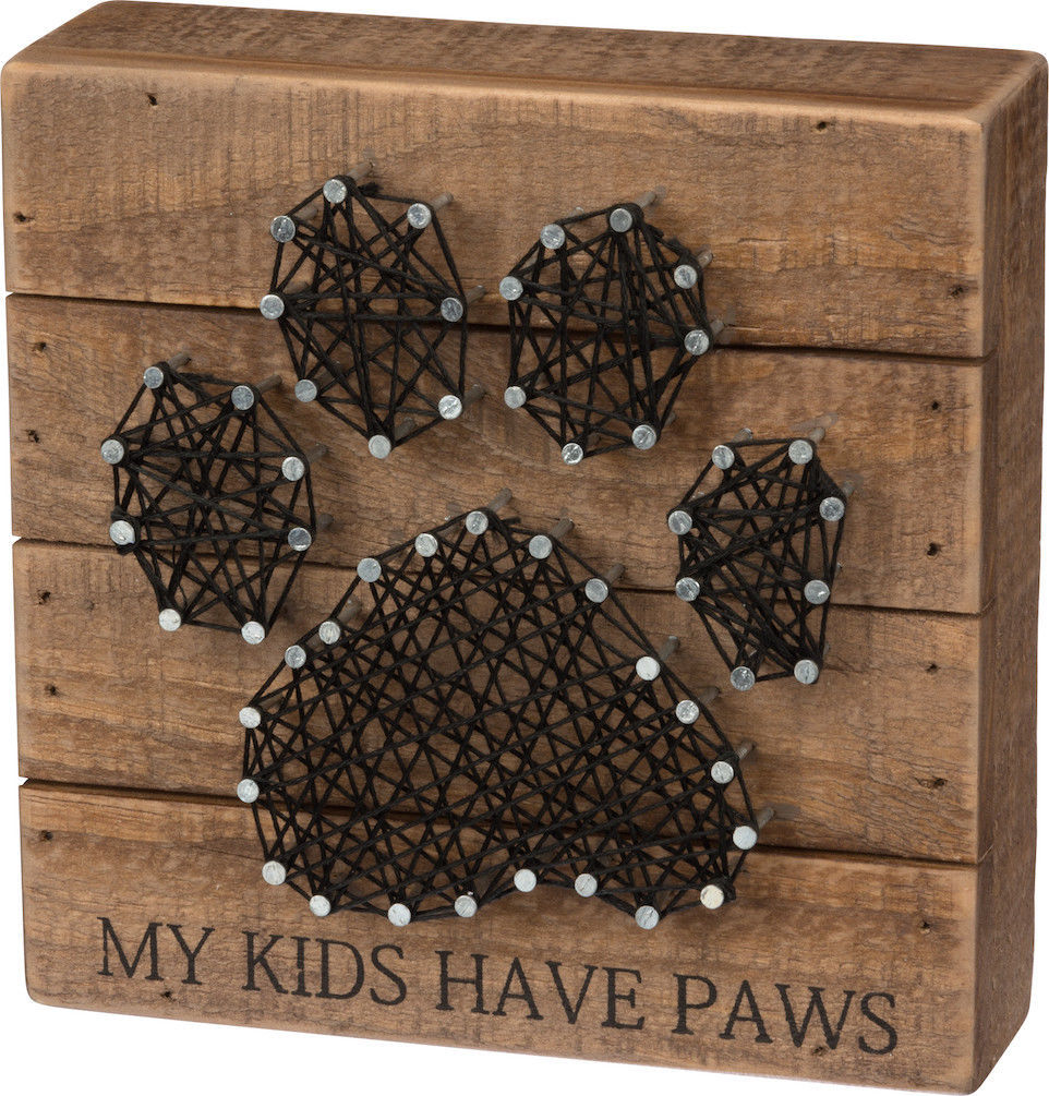 My Kids Have Paws Puppy Dog Cat Love String Art Box Sign Home Decor Decoration - $19.95