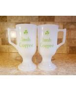Vintage Irish Coffee Mug Cup White Milk Glass Pedestal Footed 6 Oz set of 2 - $24.74