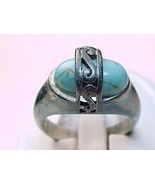 Vintage Genuine TURQUOISE RING in Sterling Silver - Size 6 - $45.00