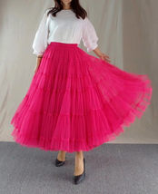 Women A Line Layered Tulle Skirt Outfit Plus Size Full Tiered Ruffle Tulle Skirt image 6