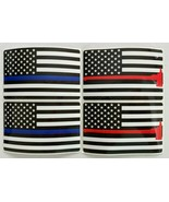 Lot of 4 Thin Blue and Red Line Hammer Stickers USA Flag Police Firefigh... - $9.89