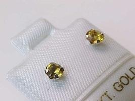 14K WHITE GOLD Genuine CITRINE Stud EARRINGS - $52.00