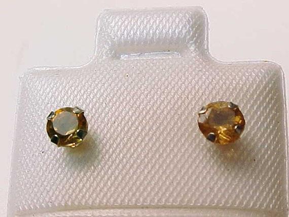 14K WHITE GOLD Genuine CITRINE Stud EARRINGS