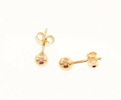 18K ROSE GOLD EARRINGS WITH 5 MM BALLS BALL ROUND SPHERE, MADE IN ITALY