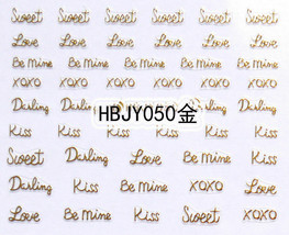 Nail Art 3D Decal Stickers Love Letter Writing Gold Xoxo HBJY050 - $3.29