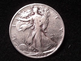 1944 WALKING LIBERTY half dollar heavily cleaned  inv069 original antiqu... - $12.50