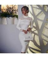 New Winter Lace White Bodycon Bandage Long Sleeve Hollow Out Celebrity E... - $86.07+