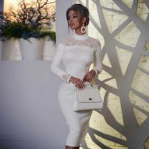 New Winter Lace White Bodycon Bandage Long Sleeve Hollow Out Celebrity Evening R