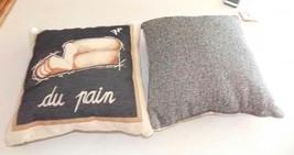 Pair of Beige Black Bread Print Throw Pillows  18 x 18 - $59.95