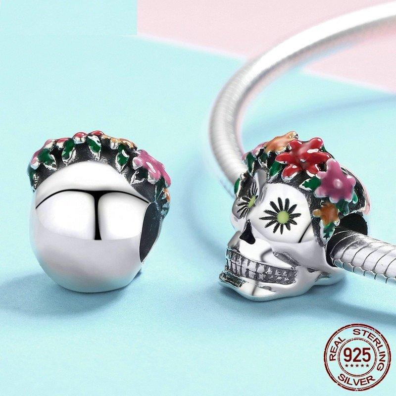 Authentic 925 Sterling Silver Skull Flower Enamel Bead Charms Pandora