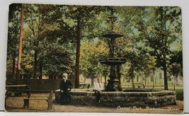 Rochester Minnesota Central Park With Fountain Old Man Young Boy Postcar... - $14.95