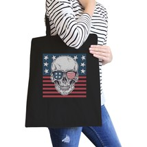 Skull American Flag Black Reusable Canvas Tote Bag July 4th Gifts - $15.99