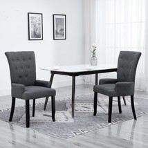 vidaXL Dining Chair with Armrests Dark Grey Fabric Bedroom French Style ... - $136.99