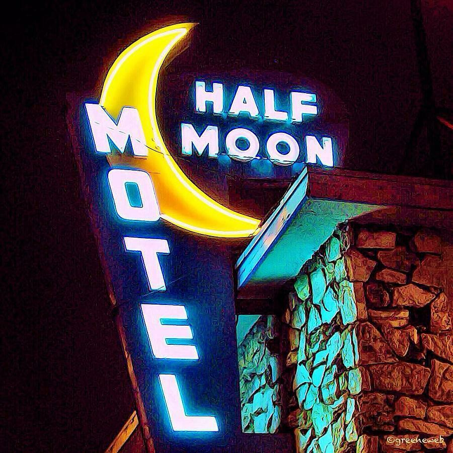 "Primary image for 19"" Neon Style Blue Half Moon Motel No Vacancy in Steel bar hotel USA sign VTG"