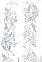 "Two (2 x ) 4"" x 29"" BELLS & BOWS Borders embroidery transfers ORIG DBT9011 - $6.00"