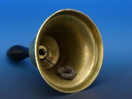 "Antique Brass 8 1/2"" Tall Schoolhouse Teacher's 5"" Bell image 5"