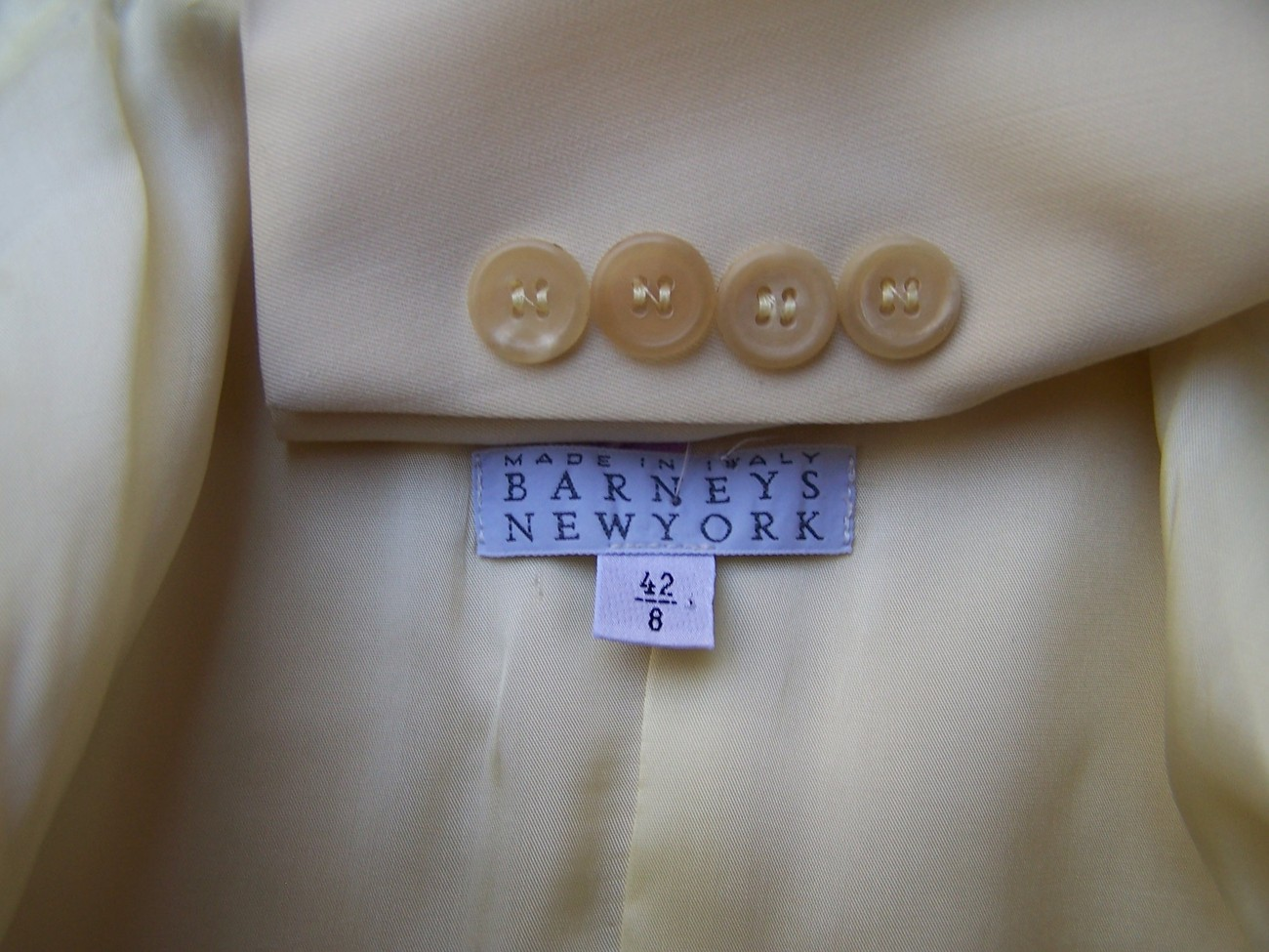 Jacket Blazer  6 Yellow  Wool Gabardine  Italy Barneys