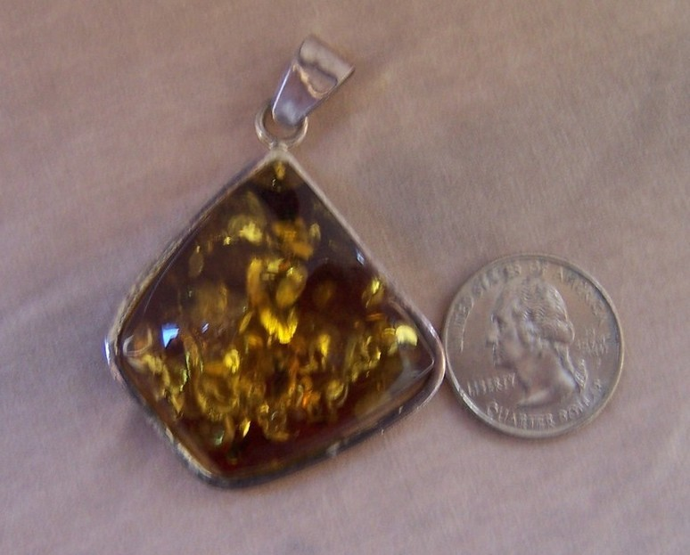 Pendant Baltic Amber  Sterling Silver 1.75 x 1.50 New