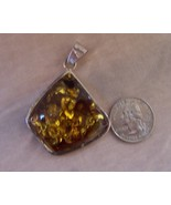 Pendant Baltic Amber  Sterling Silver 1.75 x 1.50 New - $80.00