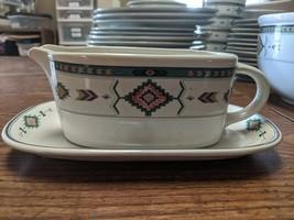 Vintage Studio Nova Adirondack Gravy Boat and Plate Southwestern Aztec - $23.95