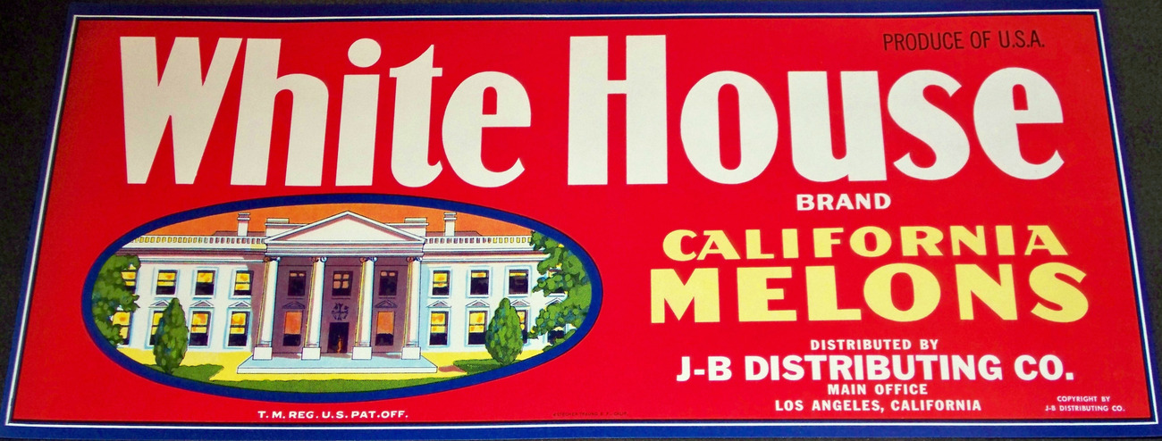 American Monument! White House Crate Label, 1940's