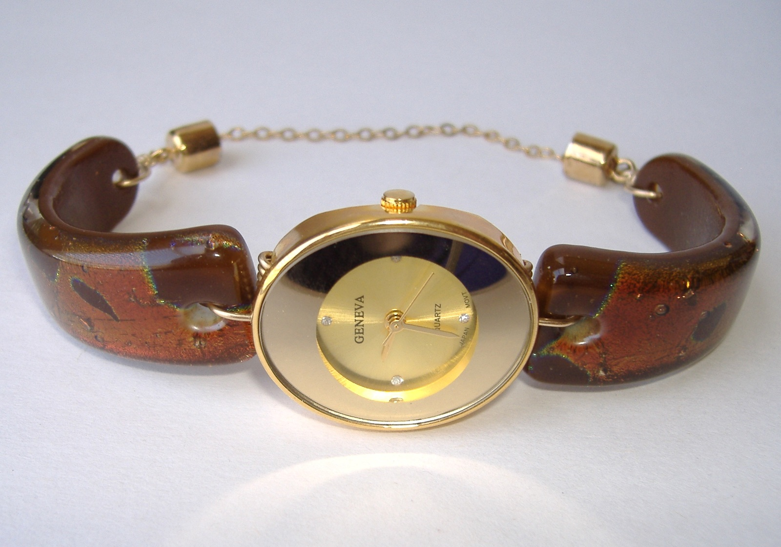 Mocha Brown Watch Fused Dichroic Glass Band Oval Ladies Wristwatch