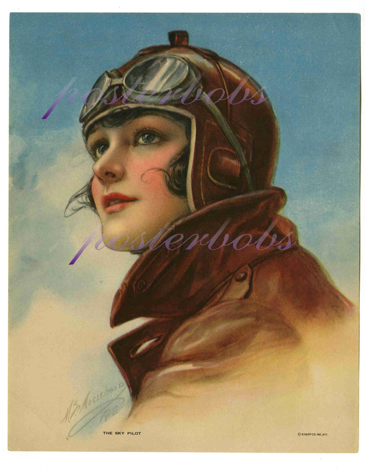 The Sky Pilot: 17 x 22 inch Vintage Aviatrix  Canvas Giclee Print Pin-Up