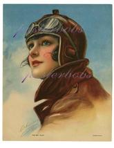 The Sky Pilot: 17 x 22 inch Vintage Aviatrix  C... - $59.00