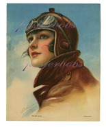 The Sky Pilot: 17 x 22 inch Vintage Aviatrix  Canvas Giclee Print Pin-Up - $59.00